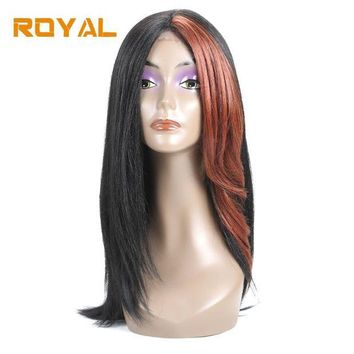 DCCKWJ7 Royal Brazilian Non-Remy Human Hair Wigs Long Hair Whole Machine Wig For Black Women #33 Color 14Inches