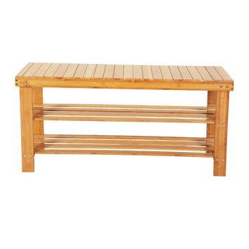 90cm Strip Pattern 3 Tiers Bamboo Stool Shoe Rack Wood Color