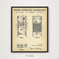 Laundry Room Wall Art, Power Operated Washboard Patent Printable, Digital Download Blueprint Art, Vintage Patent Artworks, Laundry Wall Art