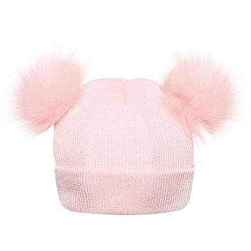 Winter Warm Kids Hat Faux Raccoon Fur Pompom Wool Knitted Hat New Born Baby Girls Boys Beanie Double Pom Pom Gorros Bonnet