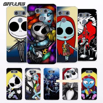 BiNFUL Nightmare Before Christmas Sally and Jack Skellington Printed hard clear phone Case cover for LG G6 G5 G4 G3 V10 V20 K10