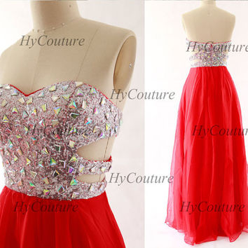 Prom Dresses, Strapless Sweetheart Long Chiffon Sequin Prom Gown, Red Long Formal Dresses, Floor Length Wedding Party Gown