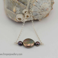 Tahitian gray pearl necklace, freshwater pearls, handmade, dainty, gray, sterling silver, elegant, unique, bridal, evening wear, coin pearl