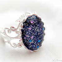 Victorian gothic ring, blue glitter ring, bridesmaid jewelry