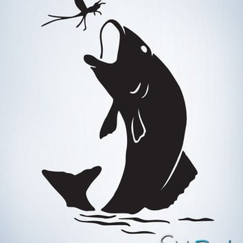 Vinyl Wall Decal Sticker Bass Fish Great Outdoor #248