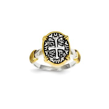 Sterling Silver & Vermeil CroSterling Silver & Chinese Symbols Ring