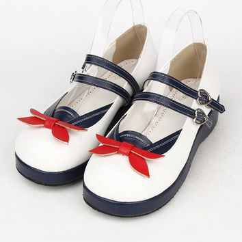 Plus Size spring ladies lolita shoes Navy Sailor Moon cosplay shoes women leather flats shoes Princess platform shoes