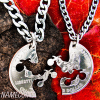 Dirtbike necklace, motocross couples, Guys jewelry, extreme couples Interlocking Relationship quarter, hand cut coin