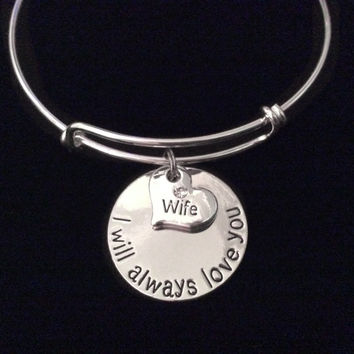 Wife I will Always Love You Expandable Charm Bracelet Adjustable Silver Bangle Gift