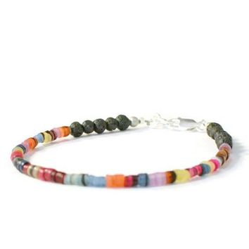Aromatherapy Bracelet with Natural Lava Rock and Rainbow Heishi Beads, Essential Oil Jewelry
