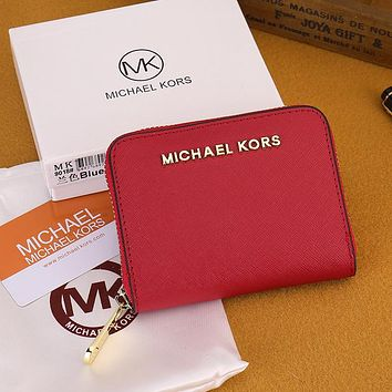 Michael Kors MK Classic Women Leather Zipper Wallet Purse Red