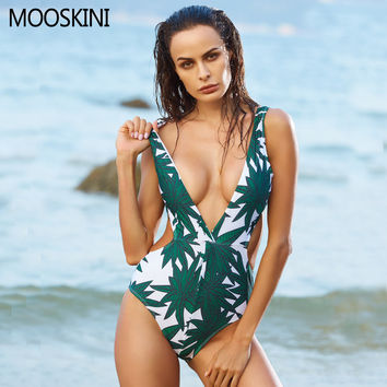 MOOSKINI Sexy Leaf Printed One Piece Swimsuit Women Bathing Suits Push Up Swimwear Sets Deep V Bandage Bodysuit Monokinis 2017