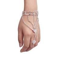 Fashion Women Girl Rhinestone Hand Bangle Chain Link Finger Ring Bracelet