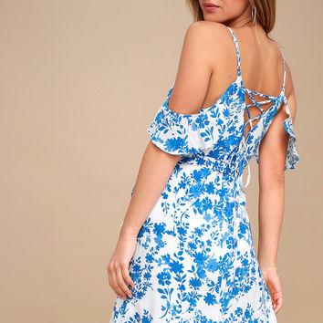 Garden Blooms Blue Floral Print Off-the-Shoulder Wrap Dress