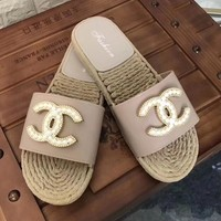 Chanel Trending Women Summer Pearl Non-Slip Flat Sandals Slippers Shoe Pink