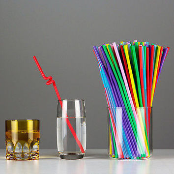 100 Pieces Neon Color PARTY Drinking STRAWS Bendable Flexible Plastic Bendy Straw