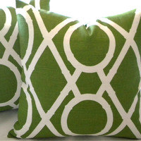 Pillow cover set of (2)  Green lattice design
