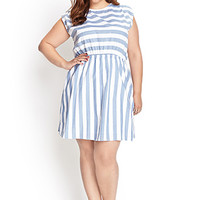 FOREVER 21 PLUS Striped Fit & Flare Dress White/Denim 1X