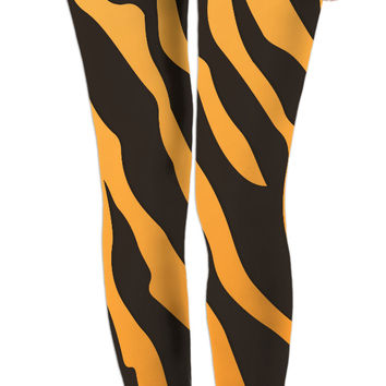 Tiger stripes pattern all-over-print leggings, wild life themed girl clothing