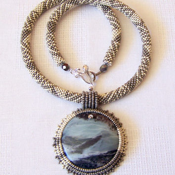 Beadwork Bead Embroidery Pendant Necklace with Multi-Color Amazonite - EVENING LEGEND - grey and silver