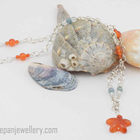Carnelian starfish with aquamarine and kyanite on sterling silver chain, gemstone, ocean, handmade, one of a kind, high quality jewelry,