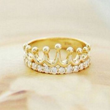 PEAPIH3 The new fashion jewelry flash diamond crown ring