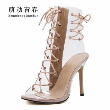 Women High Heels Shoes Gladiator Peep Toe Clear Transparent Party High Heels Shoes Fashion Lace Up Cross Tied Summer Women Pumps
