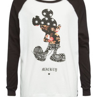 Neff Disney Collection Mickey Swag Girls Baseball Tee Black/White  In Sizes