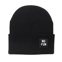 No Fun Label Beanie - Black