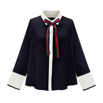 Navy Blue Bow Tie Collar Contrast Trim Long Sleeve Shirt