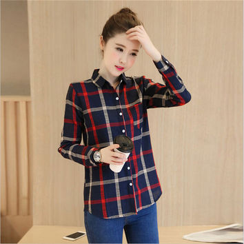 Plus Size S-XXL Plaid Women Working  Blouse 2016 Autumn Turn Down Collar Linen Work Shirts Women Long Sleeve Work blusa feminina
