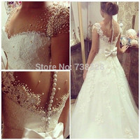 2016 Discount Beaded Bridal Wedding Dresses Gowns Vestido De Noiva See Through Back Long Wedding Dress Fashionable Custom Make