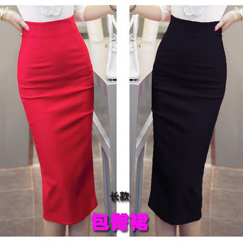 Women New Fashion Plus Size Skirt Solid Color OL Slim Bodycon Pencil Skirt High Waist Mid-calf Formal Skirt Free Shipping S-5XL
