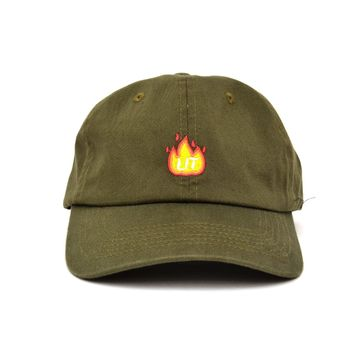 Fire Lit Dad Hat in Olive