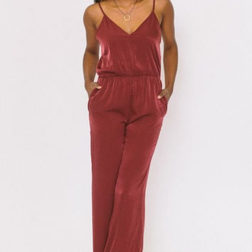 Talk of the Town Jumpsuit - Burgundy