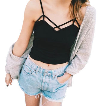 Coated rabbit Summer Fashion Women elastic cotton Tie back Camis Tied Strap Crop Tops backless tank tops cross camisole