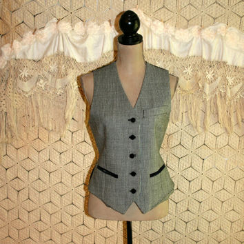Wool Vest Black and White Houndstooth Check Gypsy Vest Velvet Trim Women Vests Size 6 Vest Size 8 Vest Small Medium Womens Clothing