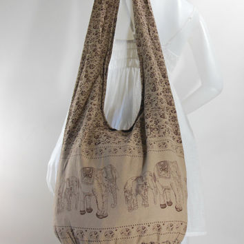 USA SHIPPING** Tan Cotton, Printed Standing Elephants, Yaam Bag, Crossbody, Shoulder bag, Hippie, Boho, Hobo, Messenger, Beach Bag E-EA34