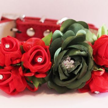 Red Green flowers with Rhinestones floral dog collar, red floral wedding