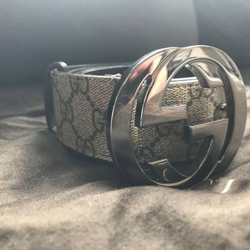 "Authentic Men's Gucci 32""-36""Leather Belt GG Buckle Silver Gucci Size 90 Supreme"