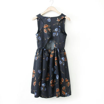 Summer Women's Fashion Print Hollow Out Sexy One Piece Dress [4917842692]