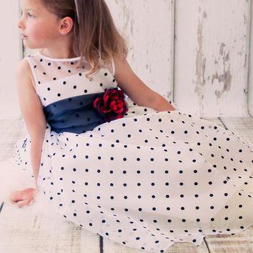 White & Black Polka Dot Crystal Organza Girls Dress 2T-12