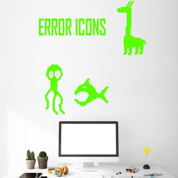 Vinyl Wall Decal Funny Gamer Video Game Error Icons Room Decor Stickers Unique Gift (1905ig)