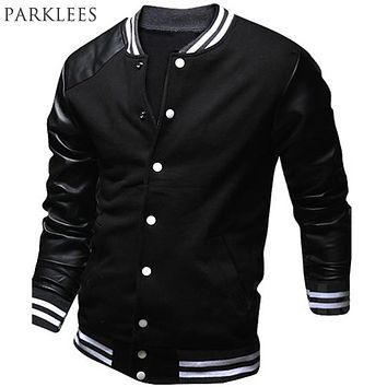 Cool College Baseball Jacket Men 2017 Fashion Design Black Pu Leather Sleeve Mens Slim Fit Varsity Jacket Brand Veste Homme Xxl
