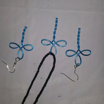 Turquoise wire twist wrapped cross necklace and earring jewelry set
