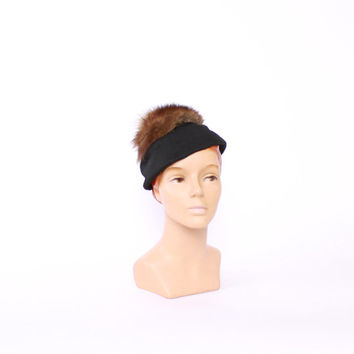 Vintage 50s HAT / 1950s Fluffy FUR & Black Fabric Quirky Winter Topper
