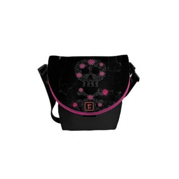 Grunge Skull & Flowers Messenger Bag from Zazzle.com
