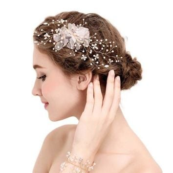 DCCKU62 Gold Tiara Flower Imitation Pearl Decoration For Hair Rhinestone Bridal Wedding Hair Barrette Accessories Head  SL