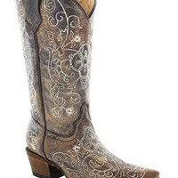 Corral Children's Brown Cowgirl Boot With Beige Embroidery