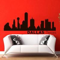 Vinyl Wall Decals Dallas Texas Skyline City Silhouette Sticker Home Decor Art Mural Z596